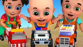 Five Little Cars doing race | Tractor Cartoon, Fire Truck | baby cartoon 3d animation