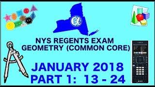 NYS Geometry [Common Core] January 2018 Regents Exam || Part 1 #'s 13-24 ANSWERS