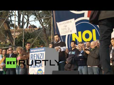 Italy: Thousands rally in Rome to protest Renzi and the EU