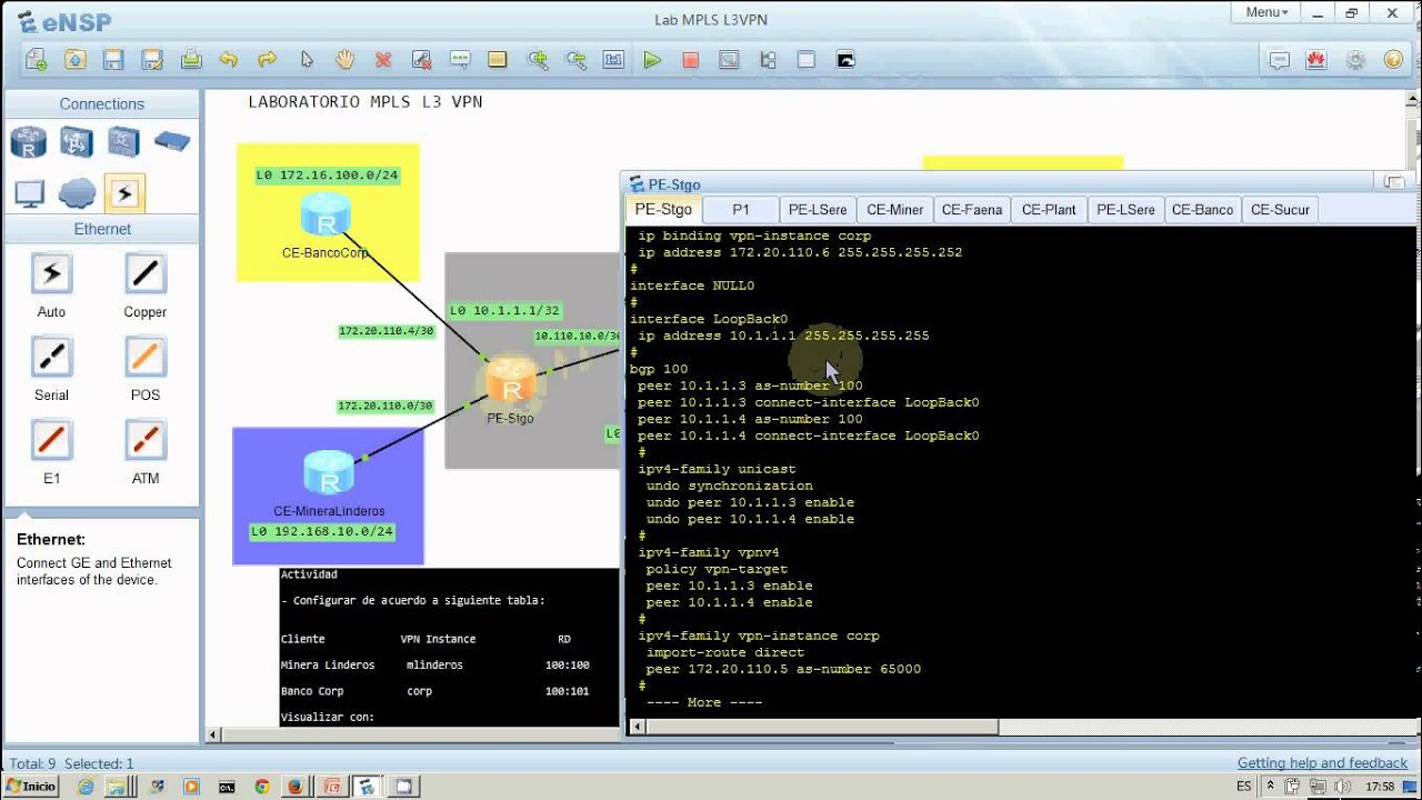 Preview Lab MPLS L3 VPN with eNSP Huawei Simulator - YouTube