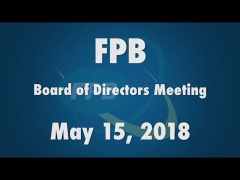 FPB Board of Directors Meeting May 2018