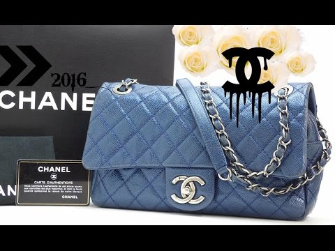 CLOSE UPS AND REVIEW 2016    CHANEL SEASONAL CHIC CAVIAR FLAP BAG IN SOFT  BLUE CAVIAR LEATHER fcaa62de45