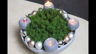 DIY Selbst gemachte weihnachtliche Schale,mit vier Kerzenhaltern.Für den Advent/Bowl, for Advent.