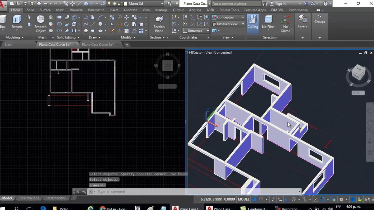 Curso autocad 3d dibujar plano de casa en 3d parte 4 for Hacer planos 3d