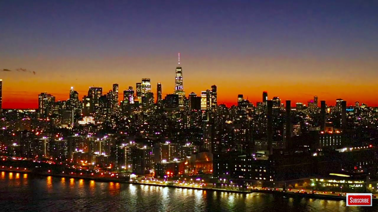New York City Skyline at Night 4K Screensaver Empire State Building - Aerial Landscapes