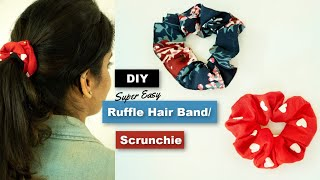 DIY Ruffle Hair Bands /Scrunchie from Old Clothes / Old T-shirts / Old Leggings ❤ Super Easy