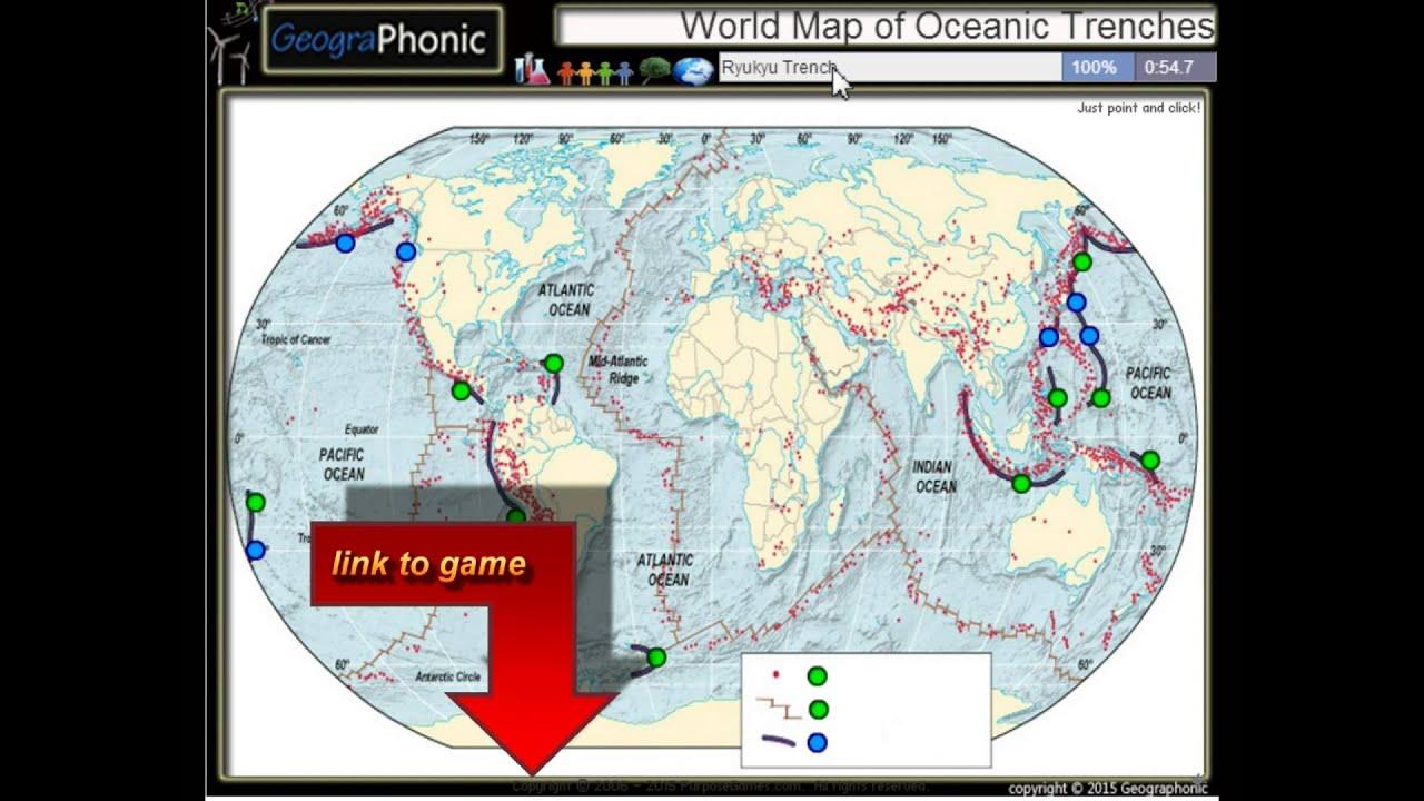 Maailman Kartta Valtamerten Juoksuhautoja Youtube
