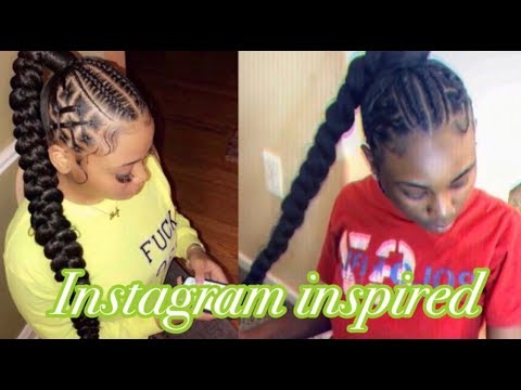 BRAID PONYTAIL WITH RUBBER BAND DESIGN!!! - YouTube