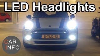 New MINI with LED headlights(The new MINI Cooper comes with LED headlights. The ring and the center light are all LED. It comes standard on the Cooper (D) (S) models and it´s optional on ..., 2014-04-18T21:44:35.000Z)