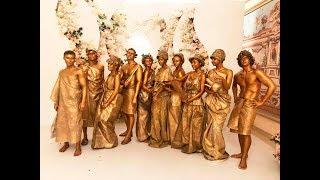 Живые статуи греческих богов на свадьбе.