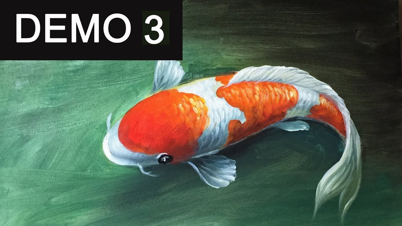 Paint koi fish with acrylic on canvas demo 3 youtube for How to paint a fish