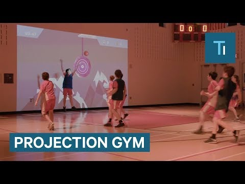 This wall projection makes gym class a giant video game