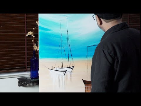 Sail Boats On A Beach - Easy Acrylic Painting Tutorial Of Sky, Boats And Landscape