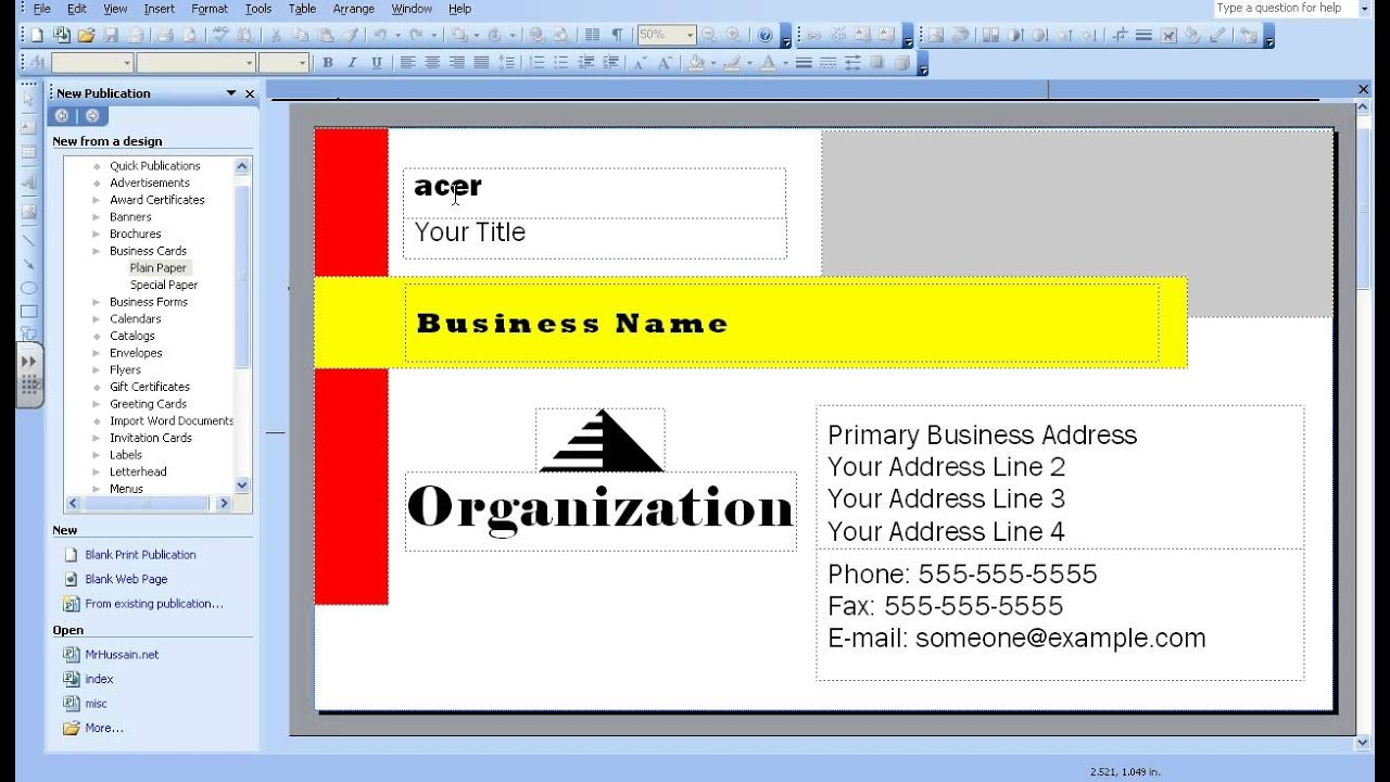 How to create a biz card using MS Publisher 2003 by icttoolbox ...