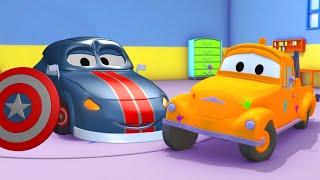 Мэт - Капитан Америка - Малярная Мастерская Тома в Автомобильный Город 🎨 детский мультфильм