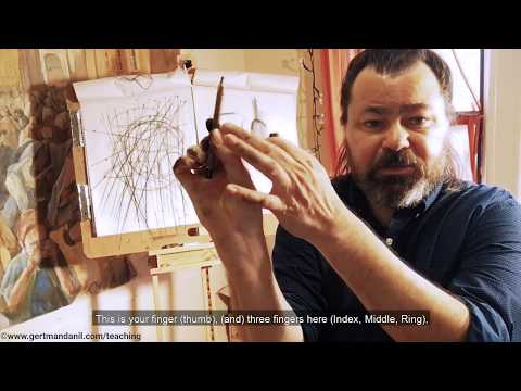 How to hold the charcoal or pencil in a right way when standing at easel
