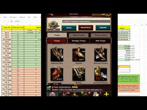 Game Of War: Nerf Spread Sheet V.5.0 - How to Adjust Troop Setup and Analyzing on Reports