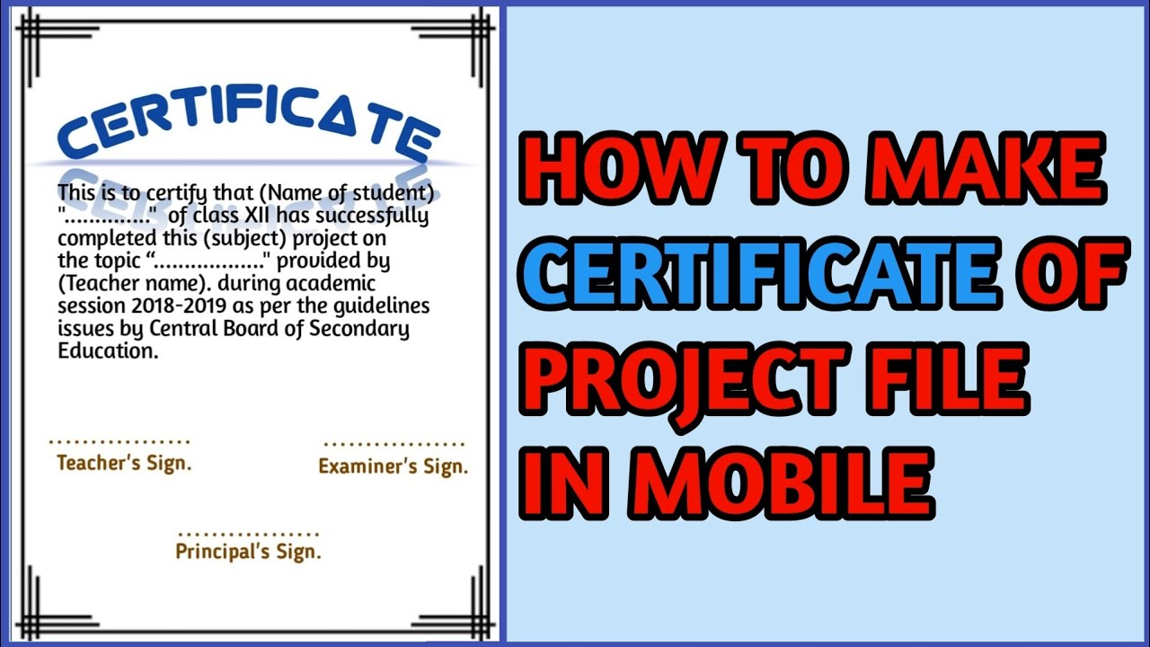 how to write a certificate for a project