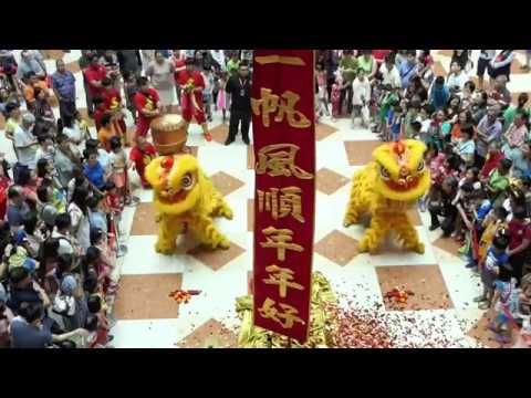 Year of the dog 2018 West Mall Wenyang lion dance performing Climb high pole.