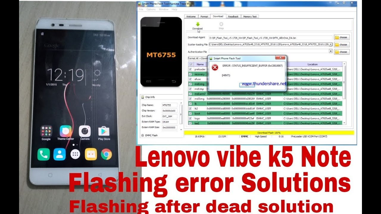 Lenovo Vibe K5 Note Flashing Error Solutions Flashing After Dead Solutions