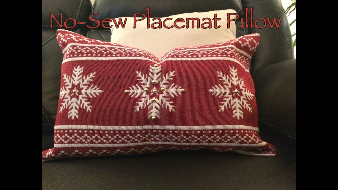 How to Make a No Sew Pillow cover from placemats Easy DIY