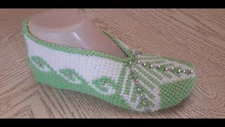 Тапочки-следки крючком № 30(1часть).Тунисское вязание.