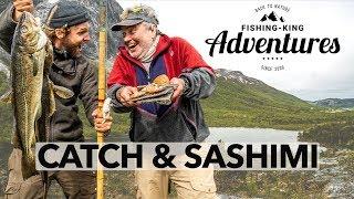 Catch & Sashimi 🍽 Dorsch & Heilbutt vom Ufer + Zubereiten 🍴  Catch & Cook