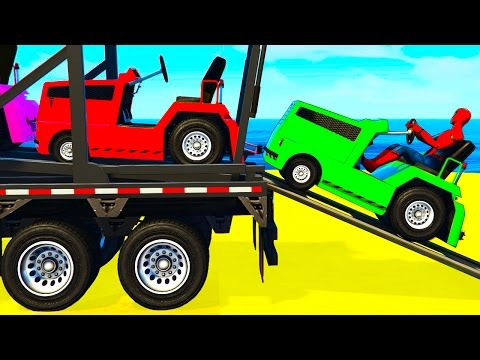 Thumbnail: FUN COLOR CARS Transportation - Spiderman Cartoon for Kids w Colors for Toddlers Nursery Rhymes