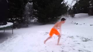 SNOW CHALLENGE JUMPING OFF TRAMPOLINE!