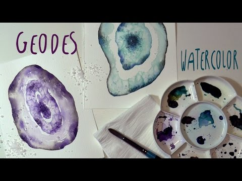 How to paint AGATE (geodes) with WATERCOLOR and salt * ART Tv by Fantasvale