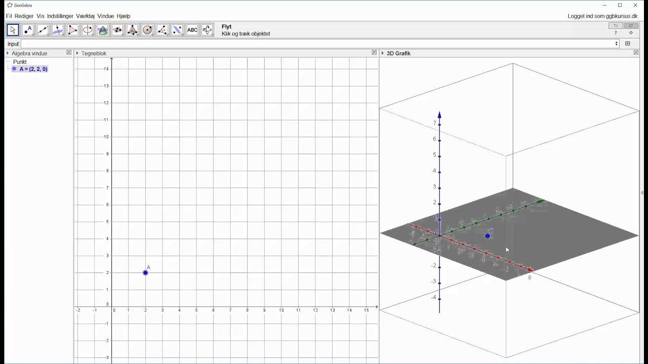 Afsæt punkt i 3D og afsæt vinkelret linje gennem punkt