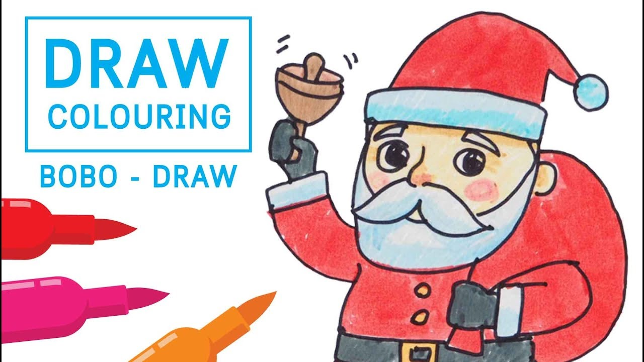 how to draw santa claus coloring pages for kids learn colours cartoon cute kawaii