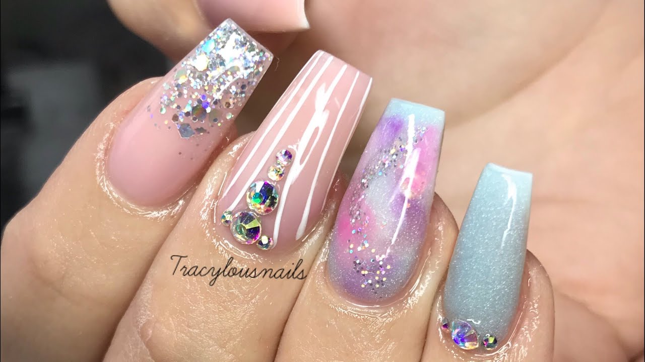 baby blue & pink marble acrylic