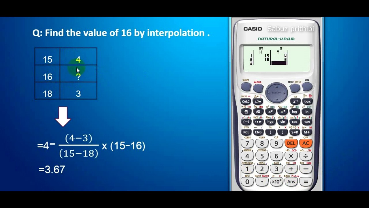 linear interpolation by casio fx 991es scientific calculator youtube