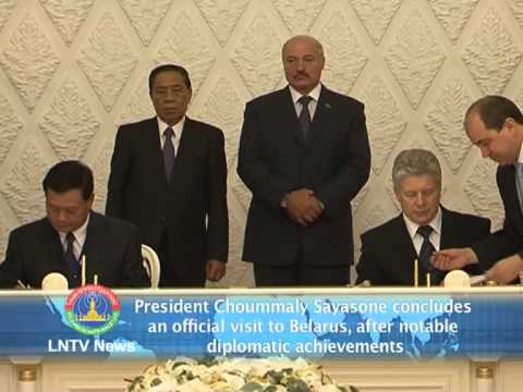 Lao News on LNTV- President Choummaly Sayasone concludes an official visit to Belarus,8-7-2013