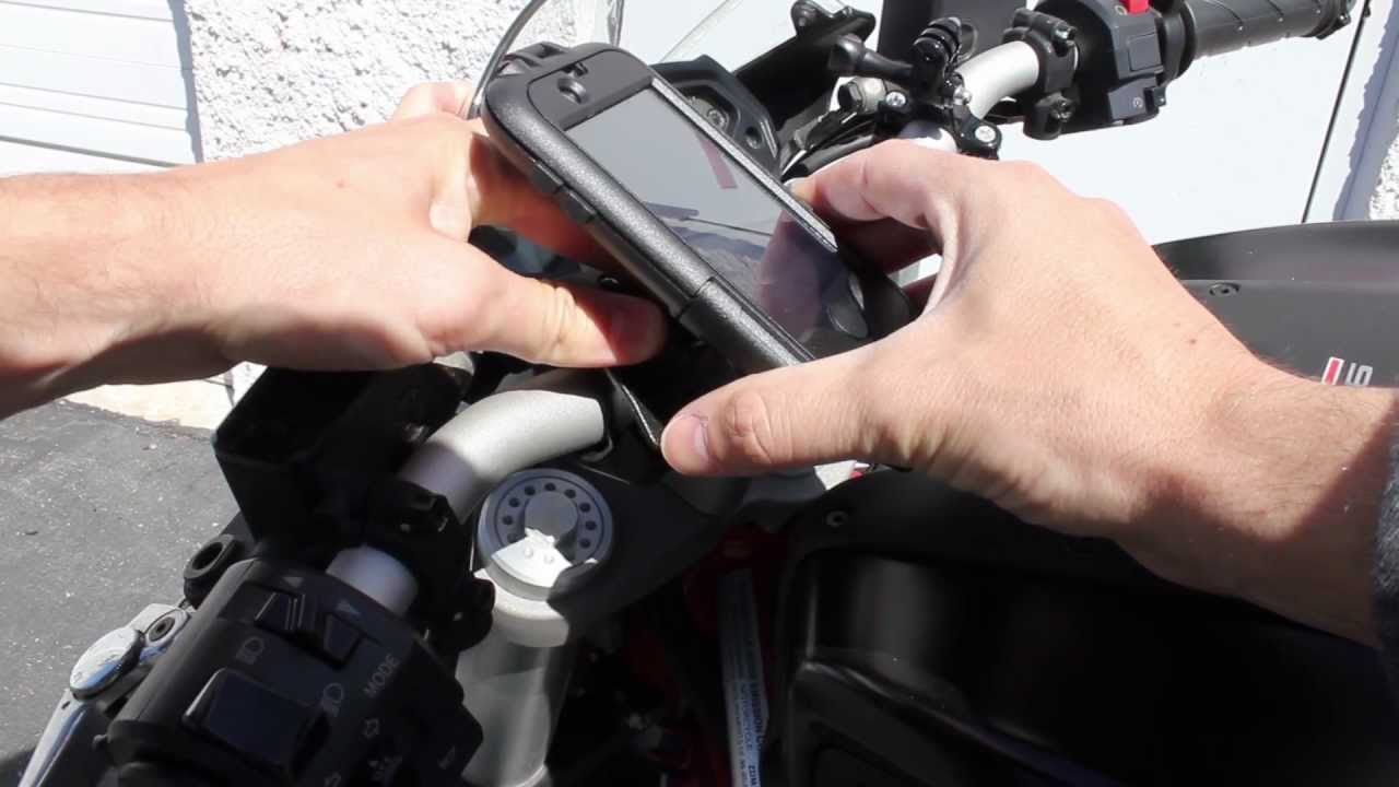 interphone cellularline case for smartphone to motorcycle  How to Mount an Interphone Tubular Handlebar Iphone Case - YouTube