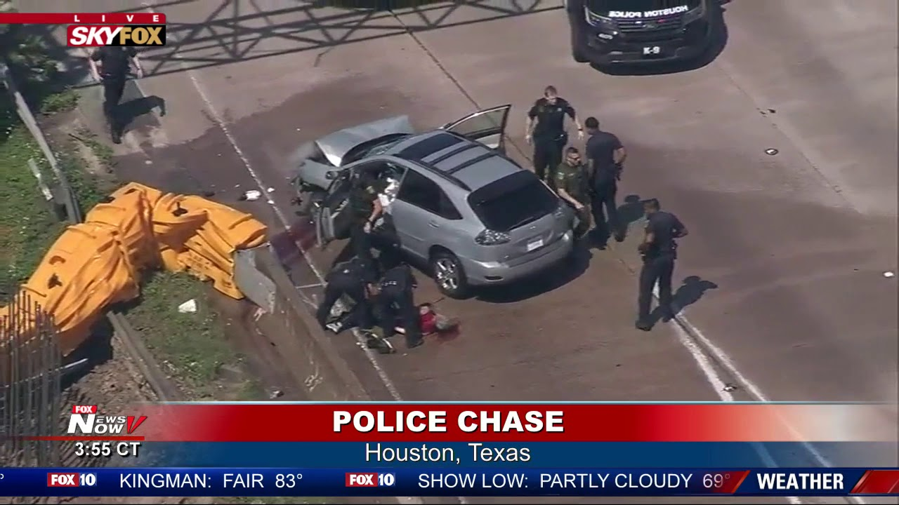DRAMATIC CRASH: Suspect Crashes During Police Chase Houston