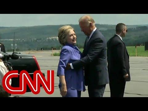 Watch Joe Biden give an endless hug to Hillary Clinton