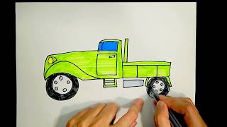 How to draw a lorry/ truck/ van/ freight train/ freight wagon【Ginger's place for kids】