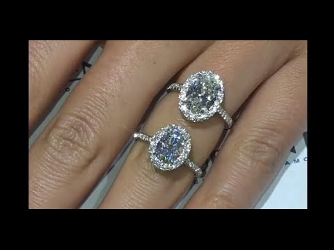 Moissanite Vs Diamond Oval Halo Rings Youtube