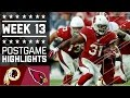Redskins vs. Cardinals | NFL Week 13 Game Highlights