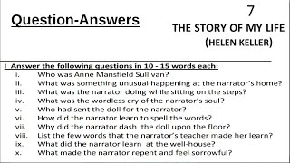 The Story of My Life Hellen Keller Question Answers Class 12 PSEB