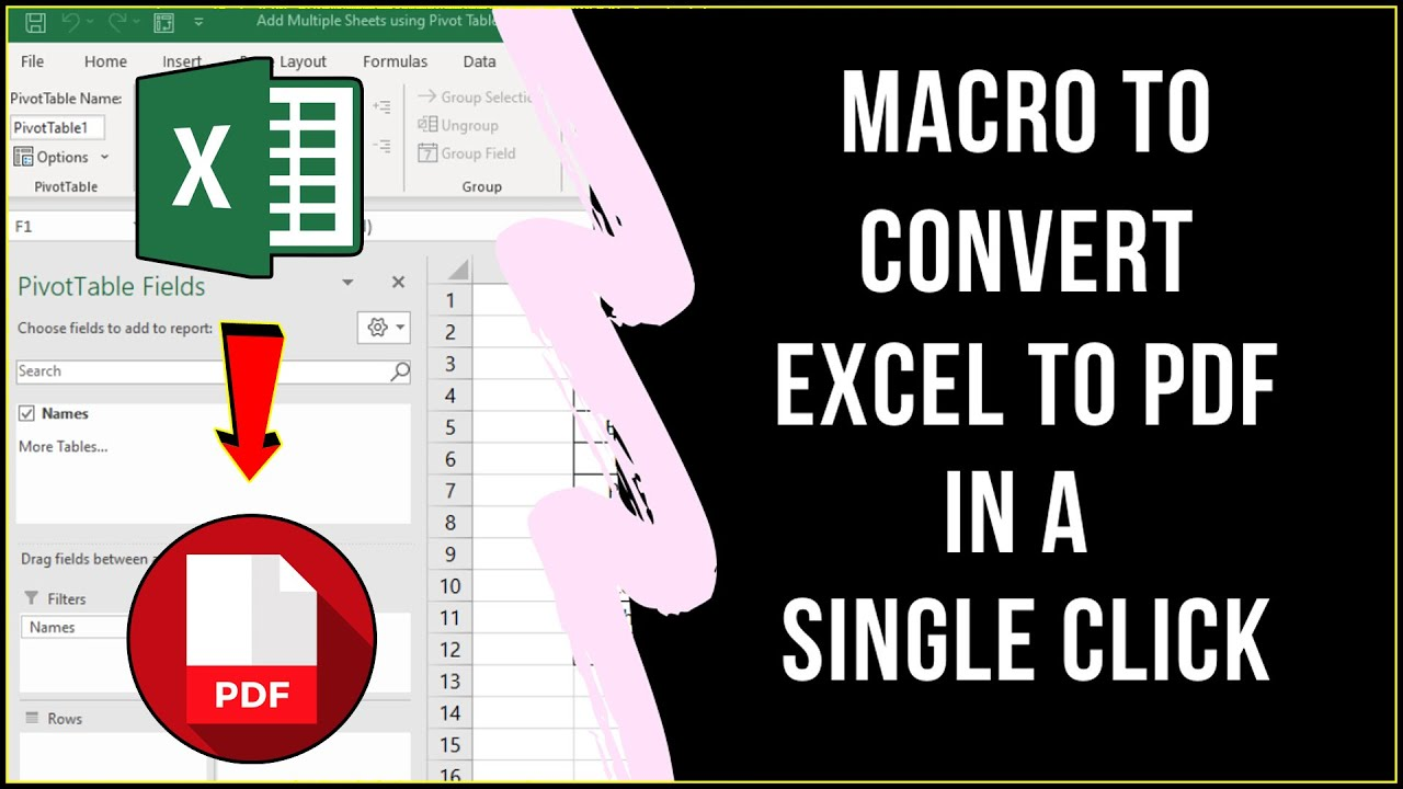 Create Pdf From An Excel Sheet Using A Single Click Macro For Generating Pdfs From Excel Sheets Youtube