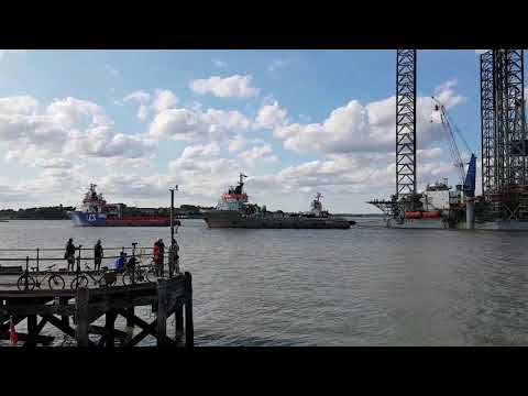 Paragon Jack-up rig entering Harwich Harbour with enough tugs to tow a fleet.