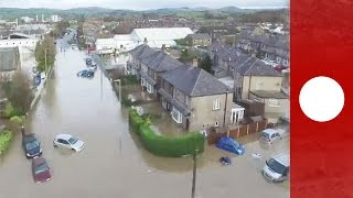 Drone footage shows severe flood damage in Cumbria, UK