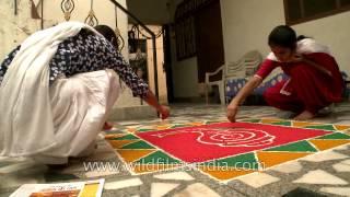 Girls preparing colorful rangoli for Diwali