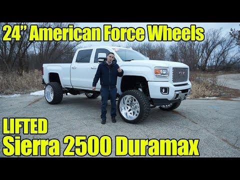 LIFTED GMC Sierra 2500 Denali Duramax with 24 inch American Force Wheels