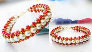 İncili Balık Sırtı Bileklik Yapımı👌 Pearl Bracelet Making. Beaded Bracelet. Pearl wristband.