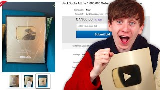 Selling my 1 Million Sub Gold Play Button on EBAY