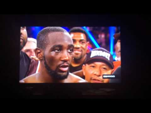 """Terence """"Bud"""" Crawford post fight interview of Dierry Jean fight."""
